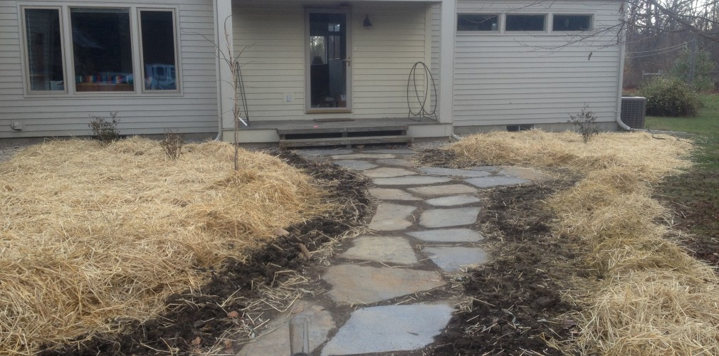 This Entry Garden Revitalization Centers Around A Welcoming Locally Sourced Goshen Stone Walk.  Stones To Be Inter-planted With Fragrant, Ground-hugging Plants Come Spring.