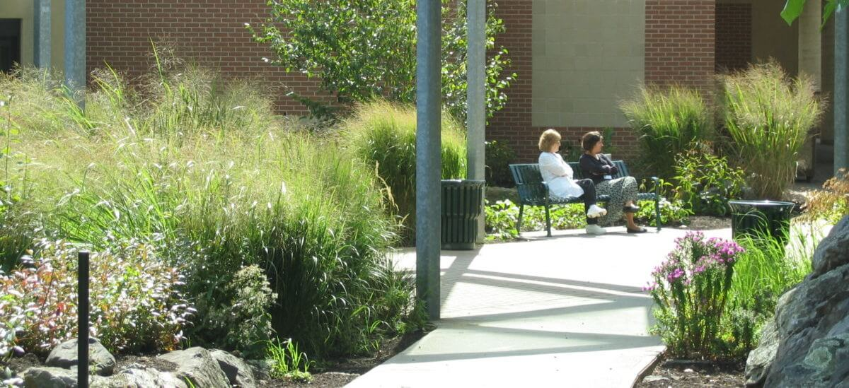 Kent's Breast Health Center Rain Garden is enjoyed by patients and staff alike.