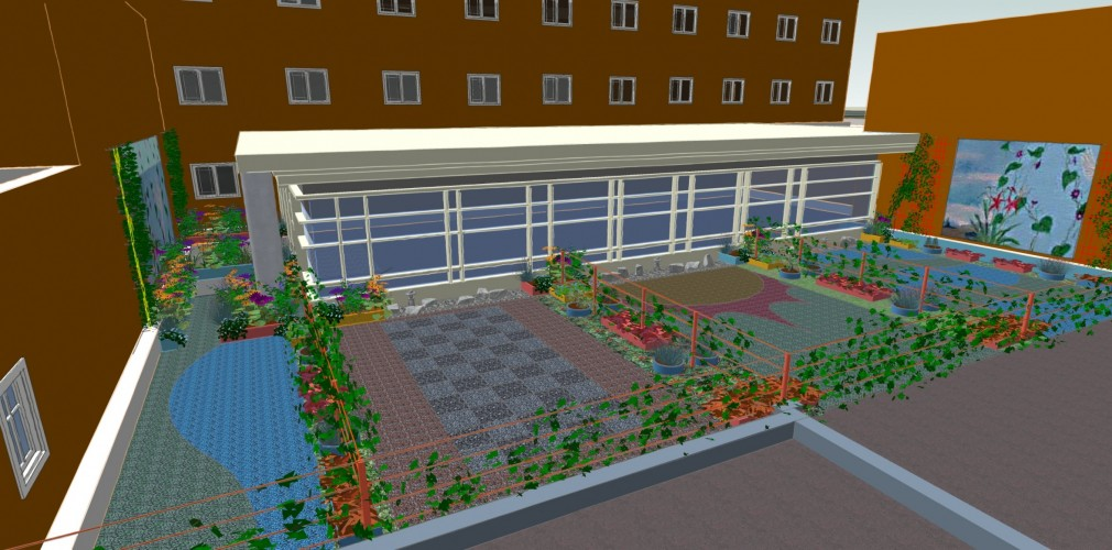 Proposed Rooftop Enhancements For Cancer Center Include Richly Detailed Paving, Lightweight Plantings, And Wall Murals.